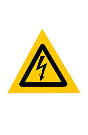 Signal of danger of electrocution from high voltage isolated in white background  photo
