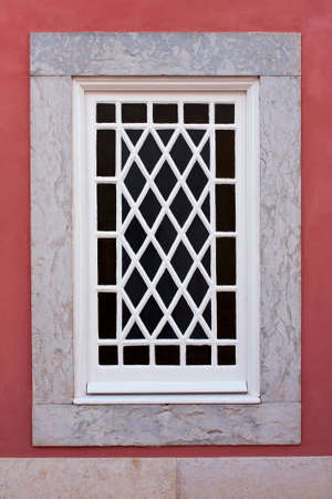 painted wood: Glazed window with mesh painted white wood