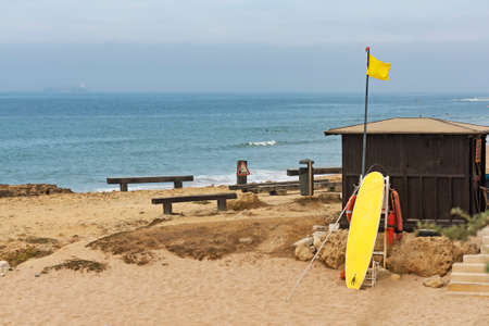 rescue west: Lifeguard hut on the Carcavelos beach at Lisbon, Portugal