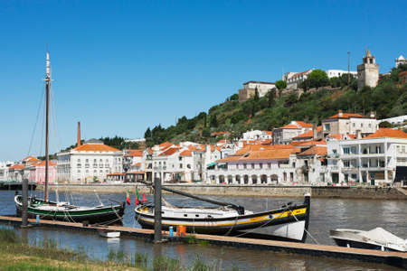 View of the city of Alcacer do Sal from the galleons in the Sado river in the Alentejo, Portugal