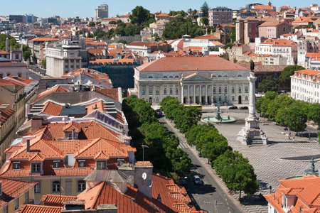 Aerial view of the Rossio Square in Lisbon, Portugal