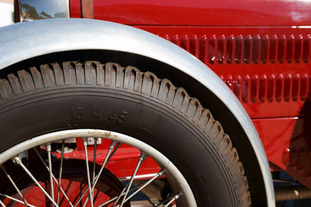 radiated: Radiated wheel of vintage red sports car Stock Photo