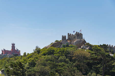 View of the Moorish Castle and the Pena Palace in Sintra, Portugal