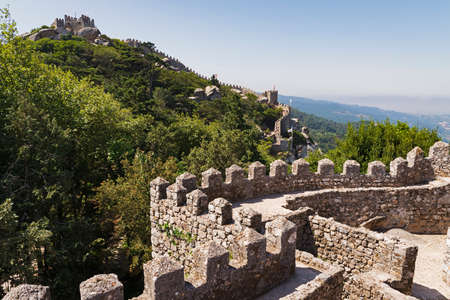 Internal view of the wall west of the moorish castle in Sintra, Portugal Stock Photo