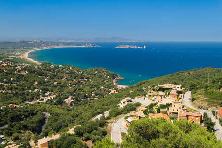 limited: Aerial view of Begur and L` Estartit coast line with the extensive areal beach on the bay which limited by Medes Island in catalonia, Spain