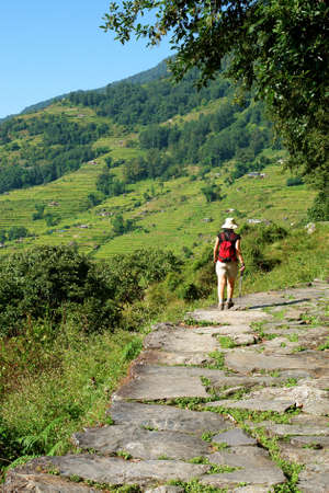 trekker: Trekkers in the Himalayan mountains, Annapurna conservation region, Nepal Stock Photo