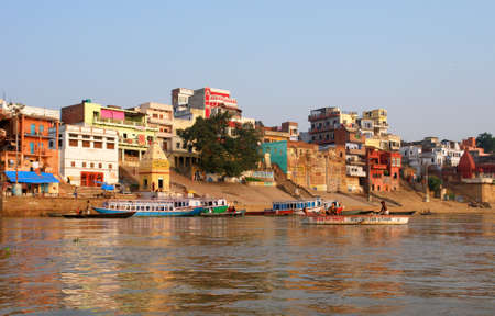 Tradicional boat trip in ganjes river at sunrise, Varanasi, India