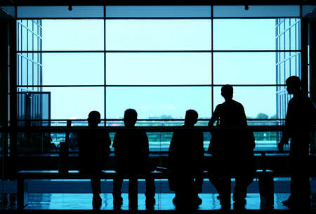 People silhouette whit window in the background                               Stock Photo