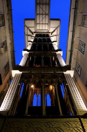 elevador: Santa Justa Lift by night (Elevador de Santa Justa) also knowned as Carmo Lift, Lisbon, Portugal  Editorial