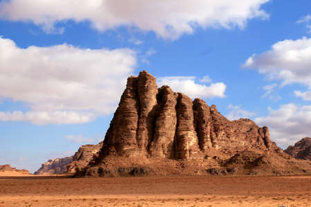 The  Seven Pillars of Wisdom  rock formation, Wadi Rum Desert beautiful landscape  Jordan