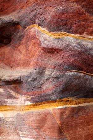 ローズ市渓谷抽象的なパターン層砂岩洞窟、Siq、Petra, ヨルダン
