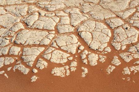 Soil detail of a dry pan, in the Sossusvlei sand dunes, Namib desert. Namibia Standard-Bild