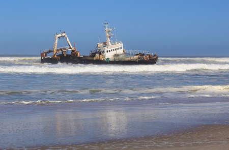 Shipwreck on a beach, Skeleton Coast, Namibia