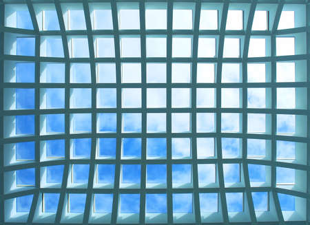 Geometric pattern ceiling of office building  photo