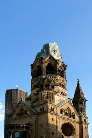 allied: Ruins of Kaiser Wilhelm Memorial Church in Berlin destroyed by Allied bombing and preserved as memorial, Berlin, Germany