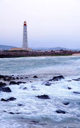 Lighthouse in  Farol  island, in Ria Formosa, natural conservation region in Algarve, Portugal