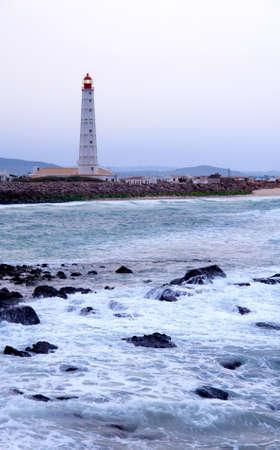 region of algarve: Lighthouse in  Farol  island, in Ria Formosa, natural conservation region in Algarve, Portugal