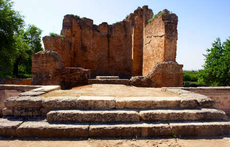Roman temple ruins of Milreu in Estoi, Algarve, Portugal
