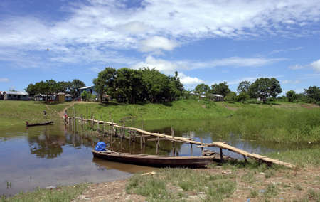 Amazon river margin native community scenary Stok Fotoğraf