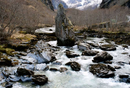 River strong stream during snow meltdown season, Norway                                Stock Photo - 15626769