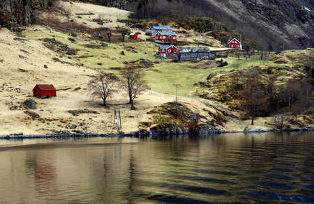 Norway fjord scenic view, tradicional houses next to water Stock Photo - 15626376