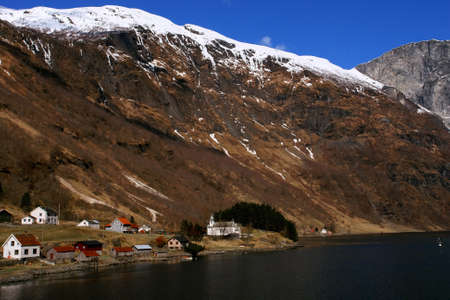 Gudvangen fjord landscape, village in the mountain,  Norway Stock Photo - 15626380