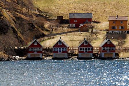 Village in Gudvangen fjord riverbank, Flam, Norway Stock Photo - 15626441