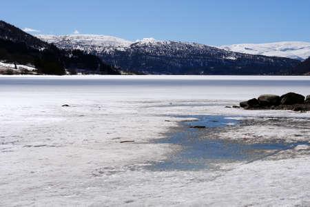Frozen lake natural landscape, Norway Stock Photo - 15626412