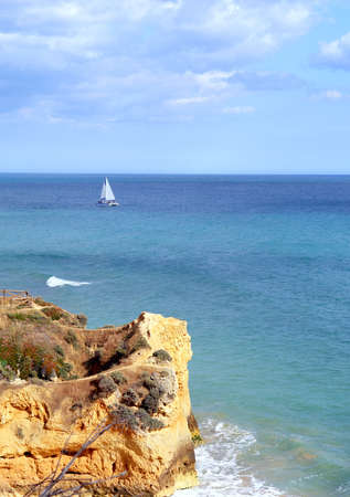 Algarve seashore cliff scenery, Portugal photo