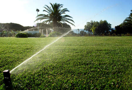 Garden irrigation system sprynkler                                Stock Photo