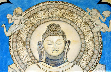 sarnath: Buddhist mural, near temple in Sarnath, Varanasi, India Stock Photo