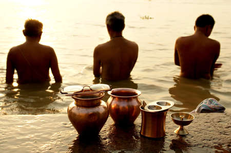 ganges: Morning ritual on the Ganges river, Varanasi, India