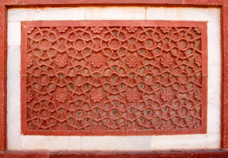 Outside Architecture detail of the Red Fort in Agra, India  photo