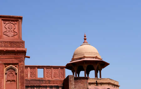 mughal: Outside Architecture of the Red Fort in Agra, India