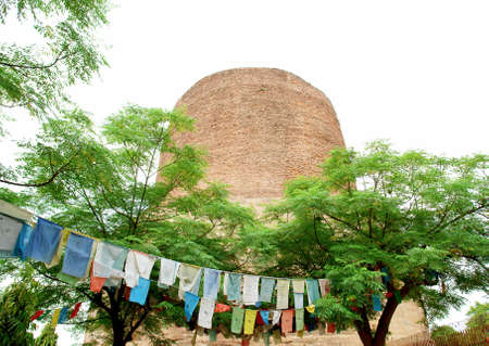 preached: Stupa at Sarnath buddhist temple, Varanasi, India. (where the Buddha preached his first sermon) Stock Photo