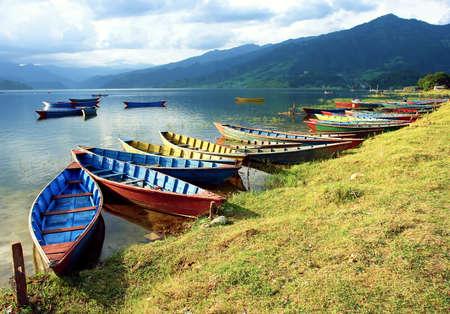 pokhara: Boats in Pokhara Nepal Fewa Lake