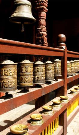 Durbar Square Prayer wheels  - Hindu temples in the ancient city, valley of Kathmandu. Nepal photo