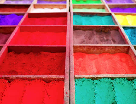 Bright colored tika powder used in Hindu religion, Nepal Stock Photo