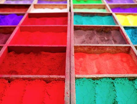Bright colored tika powder used in Hindu religion, Nepal Foto de archivo