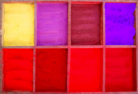 Bright colored tika powder used in Hindu religion, Nepal photo
