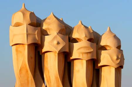 Famous chimneys at Casa Mila (also called La Pedrera) by Antoni Gaudi - roof top - Barcelona