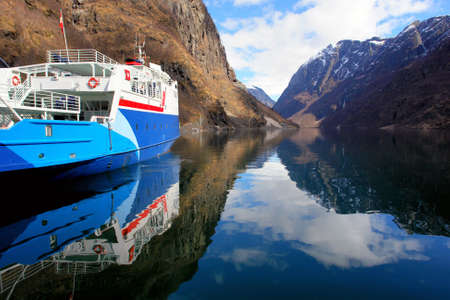 Ferry boat stoped in Noraway fjord                             Stock Photo - 15853447