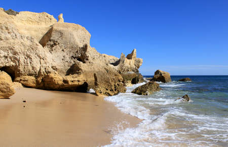 Western Algarve beach scenario  Praia do Chiringuito - Albufeira , Portugal Stock Photo - 15854326