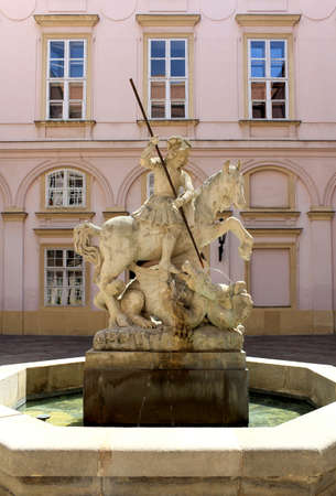 Fountain of Saint George Built in the mid-17th century in the\ Grassalkovich Palace Bratislava slovakia\