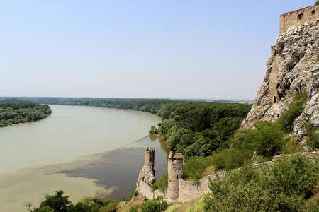 morava: Devin castle Towers, View to Danube and Morava Rivers  near Bratislava at the border with Austria   Slavac Republic