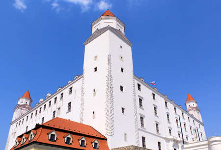Bratislava castle  Situated on a plateau 85 metres  279 ft  above the Danube  First stone was setlled in the 10th century  Slovakia