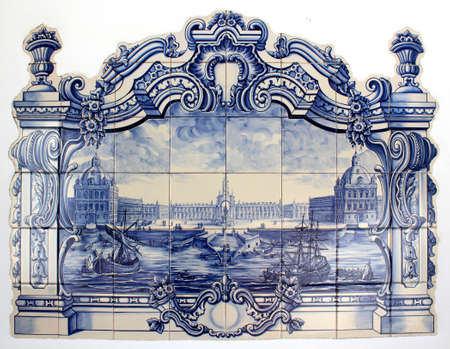 Azulejo  Portuguese traditional old hand painted art tile  photo
