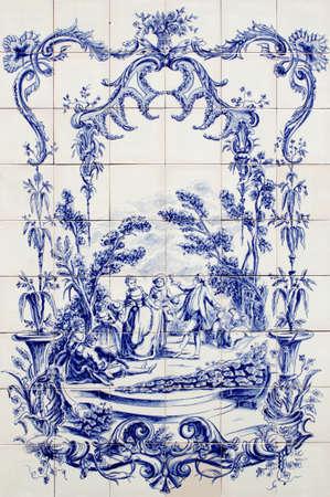 Azulejo ポルトガルの伝統的な古い手塗られた芸術タイル