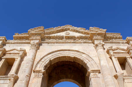 hadrian: Hadrians Arch. Ruins of the Greco-Roman city of Gerasa. Ancient Jerash, in Jordan.