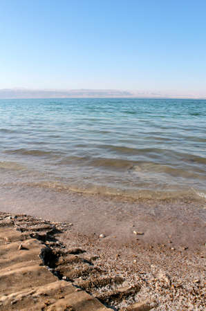 Dead Sea coastline, whit salt crystals and formations in the sand  Jordan